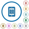 Smartphone firewall icons with shadows and outlines - Smartphone firewall flat color vector icons with shadows in round outlines on white background