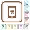 Mobile shopping simple icons - Mobile shopping simple icons in color rounded square frames on white background