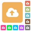 Cloud upload rounded square flat icons - Cloud upload flat icons on rounded square vivid color backgrounds.