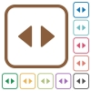 Horizontal control arrows simple icons - Horizontal control arrows simple icons in color rounded square frames on white background