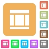 Three columned web layout rounded square flat icons - Three columned web layout flat icons on rounded square vivid color backgrounds.