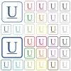 Underlined font type outlined flat color icons - Underlined font type color flat icons in rounded square frames. Thin and thick versions included.