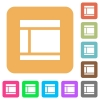 Two columned web layout rounded square flat icons - Two columned web layout flat icons on rounded square vivid color backgrounds.