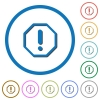 Octagon shaped error sign icons with shadows and outlines - Octagon shaped error sign flat color vector icons with shadows in round outlines on white background