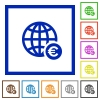 Online Euro payment flat framed icons - Online Euro payment flat color icons in square frames on white background