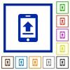 Mobile upload flat framed icons - Mobile upload flat color icons in square frames on white background