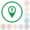 Fast approach GPS map location flat icons with outlines - Fast approach GPS map location flat color icons in round outlines on white background