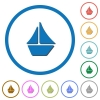 Sailboat icons with shadows and outlines - Sailboat flat color vector icons with shadows in round outlines on white background