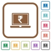 Laptop with Rupee sign simple icons - Laptop with Rupee sign simple icons in color rounded square frames on white background
