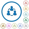 Online users icons with shadows and outlines - Online users flat color vector icons with shadows in round outlines on white background