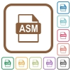 ASM file format simple icons in color rounded square frames on white background - ASM file format simple icons