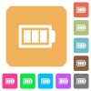 Full battery with three load units flat icons on rounded square vivid color backgrounds. - Full battery with three load units rounded square flat icons