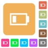 Low battery with one load unit flat icons on rounded square vivid color backgrounds. - Low battery with one load unit rounded square flat icons