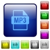 MP3 file format color square buttons - MP3 file format icons in rounded square color glossy button set