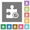 Timer plugin square flat icons - Timer plugin flat icons on simple color square backgrounds