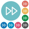 Media fast forward flat round icons - Media fast forward flat white icons on round color backgrounds