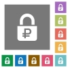 Locked Rubles square flat icons - Locked Rubles flat icons on simple color square backgrounds