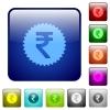 Indian Rupee sticker color square buttons - Indian Rupee sticker icons in rounded square color glossy button set