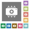 Hardware settings square flat icons - Hardware settings flat icons on simple color square backgrounds