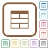 Spreadsheet horizontally merge table cells simple icons - Spreadsheet horizontally merge table cells simple icons in color rounded square frames on white background