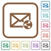 Share mail simple icons - Share mail simple icons in color rounded square frames on white background