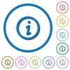 Information icons with shadows and outlines - Information flat color vector icons with shadows in round outlines on white background