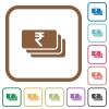 Indian Rupee banknotes simple icons - Indian Rupee banknotes simple icons in color rounded square frames on white background