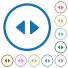 Horizontal control arrows icons with shadows and outlines - Horizontal control arrows flat color vector icons with shadows in round outlines on white background