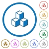 Cubes icons with shadows and outlines - Cubes flat color vector icons with shadows in round outlines on white background
