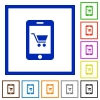 Mobile shopping flat framed icons - Mobile shopping flat color icons in square frames on white background