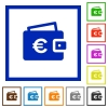 Euro wallet flat framed icons - Euro wallet flat color icons in square frames on white background