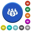Money bags beveled buttons - Money bags round color beveled buttons with smooth surfaces and flat white icons