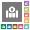 Yen financial graph square flat icons - Yen financial graph flat icons on simple color square backgrounds