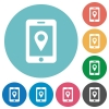 Mobile navigation flat round icons - Mobile navigation flat white icons on round color backgrounds