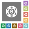 Bitcoin casino chip square flat icons - Bitcoin casino chip flat icons on simple color square backgrounds