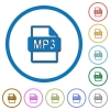 MP3 file format icons with shadows and outlines - MP3 file format flat color vector icons with shadows in round outlines on white background