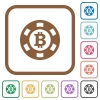 Bitcoin casino chip simple icons - Bitcoin casino chip simple icons in color rounded square frames on white background