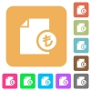 Turkish Lira financial report rounded square flat icons - Turkish Lira financial report flat icons on rounded square vivid color backgrounds.