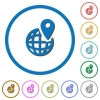 GPS location with globe symbol icons with shadows and outlines - GPS location with globe symbol flat color vector icons with shadows in round outlines on white background