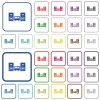Stereo system outlined flat color icons - Stereo system color flat icons in rounded square frames. Thin and thick versions included.