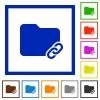 Folder link flat framed icons - Folder link flat color icons in square frames on white background