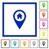 Home address GPS map location flat framed icons - Home address GPS map location flat color icons in square frames on white background