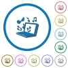 Laptop with music symbols icons with shadows and outlines - Laptop with music symbols flat color vector icons with shadows in round outlines on white background