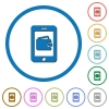 Mobile wallet icons with shadows and outlines - Mobile wallet flat color vector icons with shadows in round outlines on white background