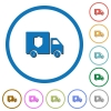 Money deliverer truck icons with shadows and outlines - Money deliverer truck flat color vector icons with shadows in round outlines on white background