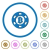 Bitcoin casino chip flat color vector icons with shadows in round outlines on white background - Bitcoin casino chip icons with shadows and outlines