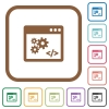 Application programming interface simple icons - Application programming interface simple icons in color rounded square frames on white background
