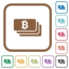 Bitcoin banknotes simple icons - Bitcoin banknotes simple icons in color rounded square frames on white background