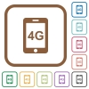 Fourth generation mobile network simple icons - Fourth generation mobile network simple icons in color rounded square frames on white background