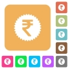 Indian Rupee sticker rounded square flat icons - Indian Rupee sticker flat icons on rounded square vivid color backgrounds.